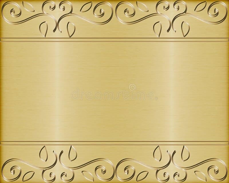 Goud geborstelde metaal vectorachtergrond stock illustratie