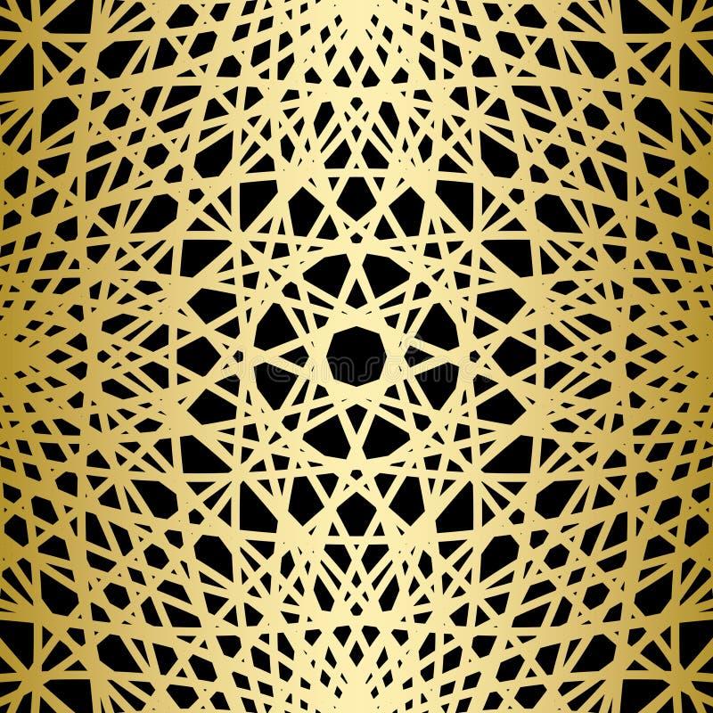 Goud gebreide lijnen op zwarte achtergrond royalty-vrije illustratie