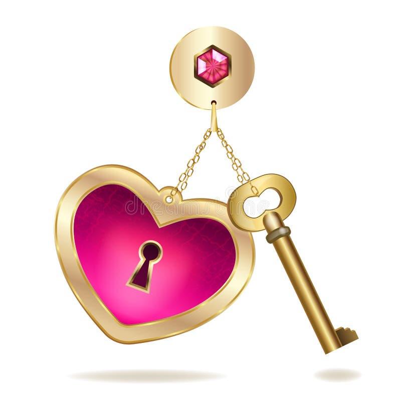 Goud keychain met hart en juweel. royalty-vrije illustratie
