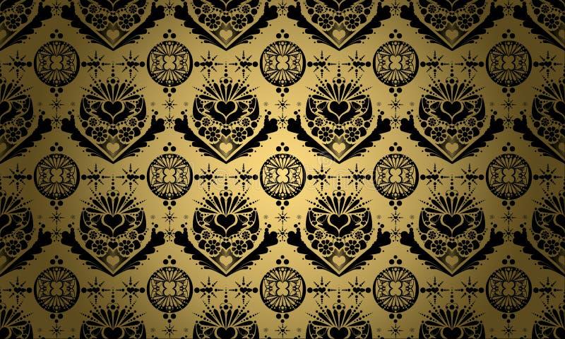 Goud met zwart ornament royalty-vrije stock fotografie