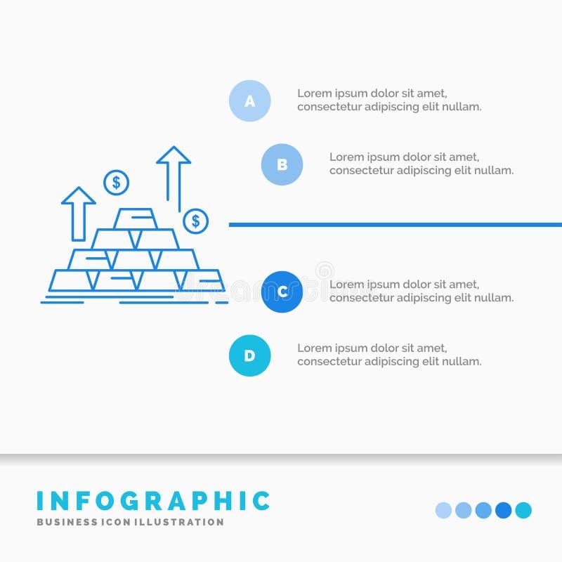 goud, muntstuk, contant geld, geld, het Malplaatje van de groeiinfographics voor Website en Presentatie Infographic de stijlvecto royalty-vrije illustratie