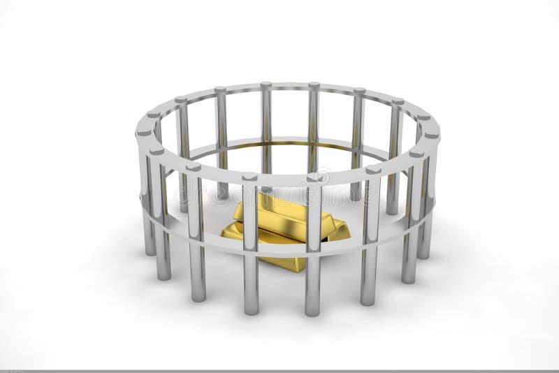 Goud in omheining stock illustratie