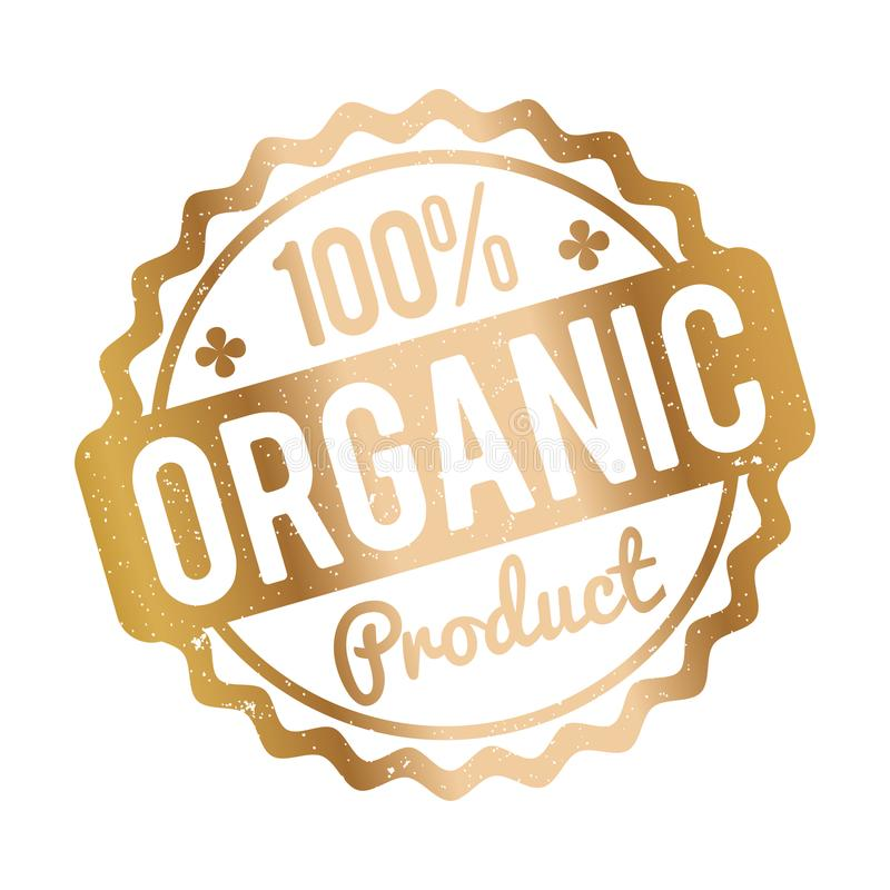 Goud van de biologisch product het rubberzegel op een witte achtergrond stock illustratie