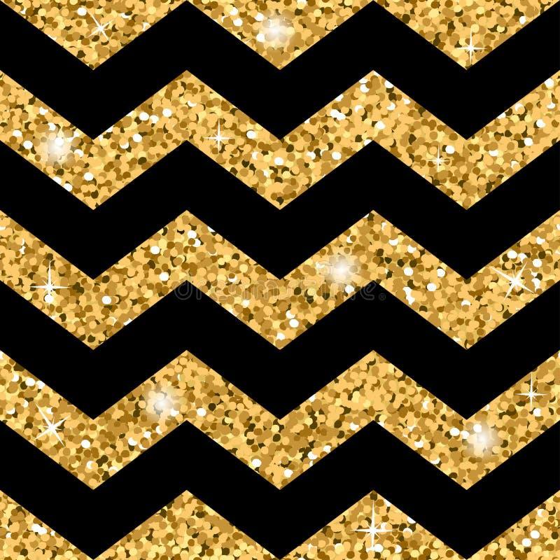 Goud van het zigzag schittert het naadloze patroon en zwart malplaatje stock illustratie