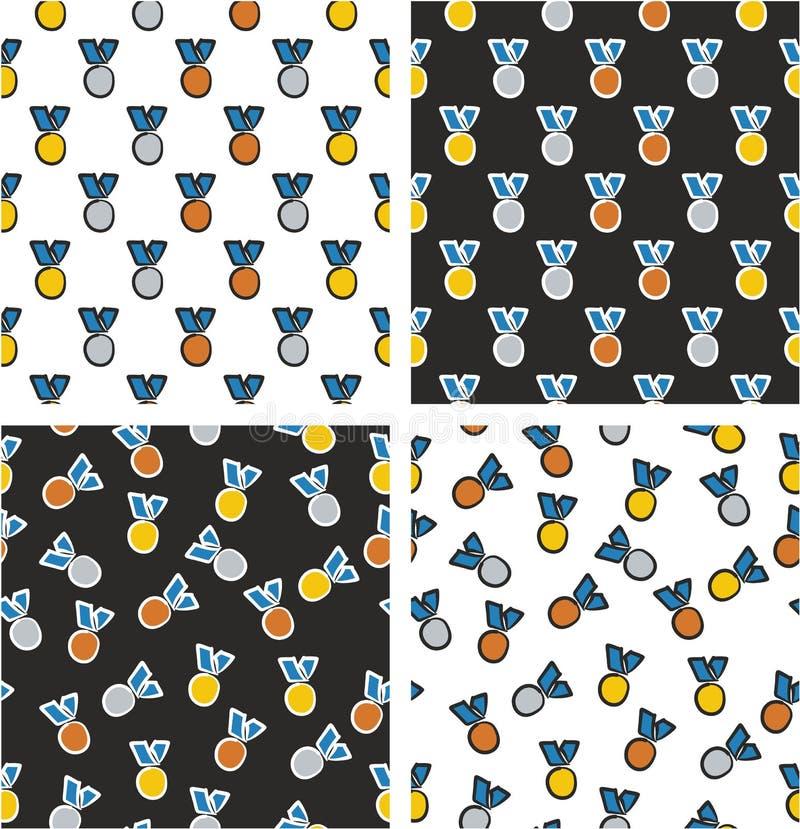 Goud, Zilver & Brons Blauwe de Kleurenreeks Uit de vrije hand van het Medailles Gerichte & Willekeurige Naadloze Patroon stock illustratie