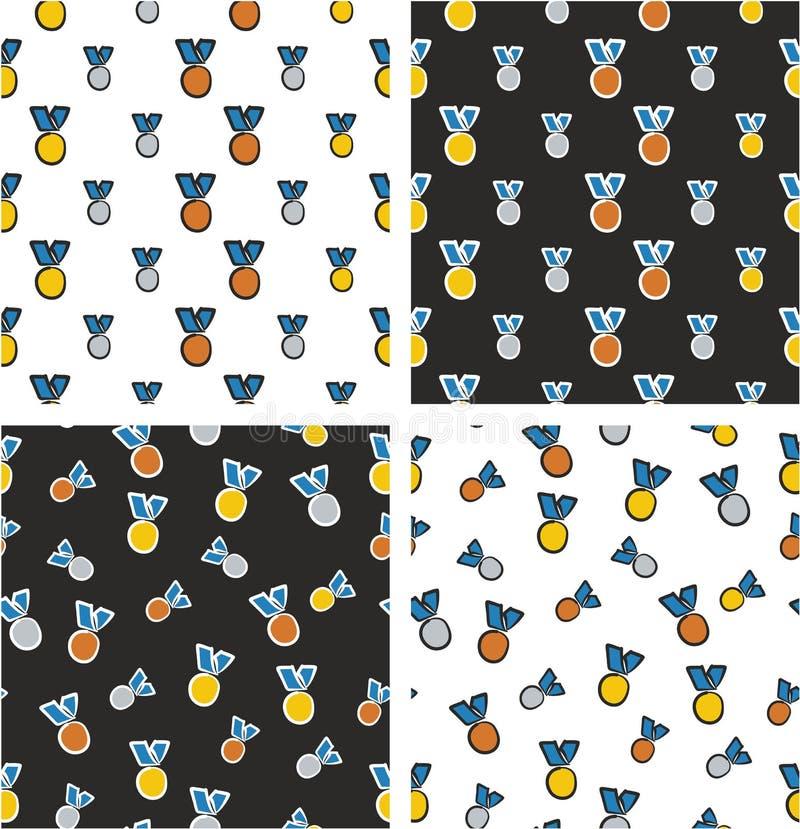 Goud, Zilver & Brons Blauwe de Kleurenreeks Uit de vrije hand van het Medailles Grote & Kleine Gerichte & Willekeurige Naadloze P stock illustratie