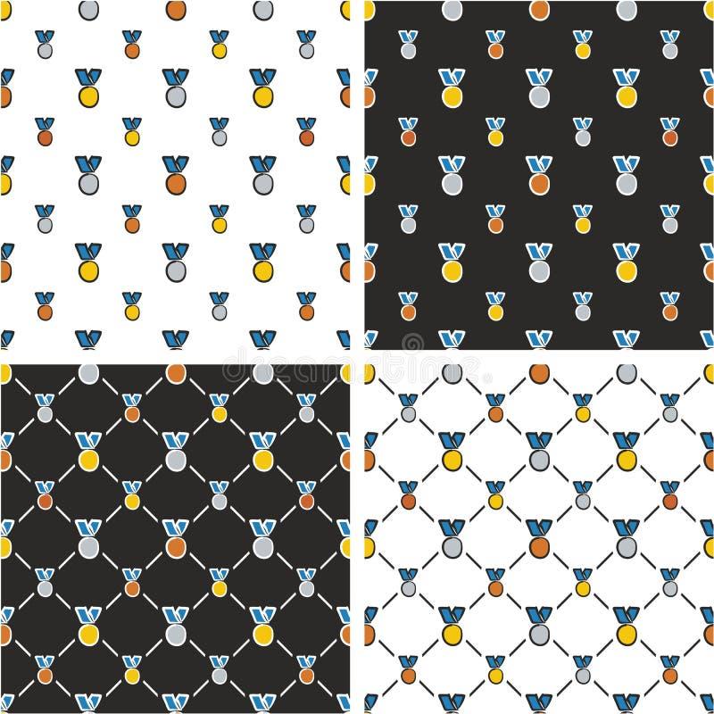 Goud, Zilver & Brons Blauwe de Kleurenreeks Uit de vrije hand van het Medailles Grote & Kleine Naadloze Patroon royalty-vrije illustratie