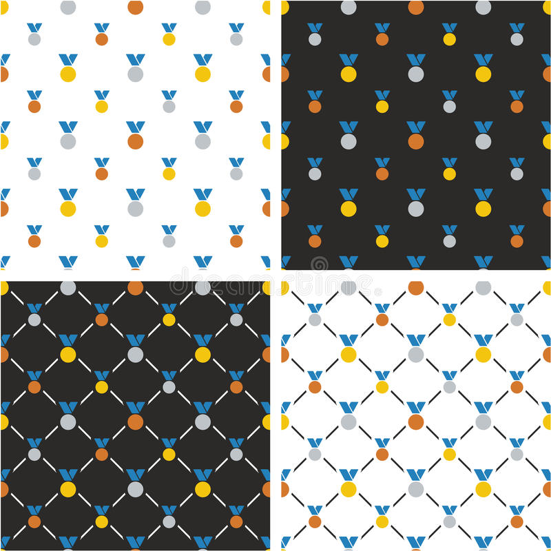 Goud, Zilver & Brons Blauwe de Kleurenreeks van het Medailles Grote & Kleine Naadloze Patroon stock illustratie