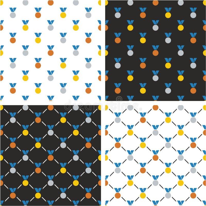 Goud, Zilver & Brons Blauwe de Kleurenreeks van het Medailles Naadloze Patroon stock illustratie