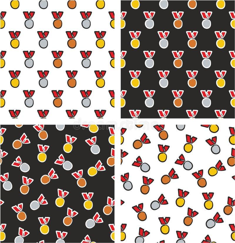 Goud, Zilver & Brons de Rode Kleurenreeks Uit de vrije hand van het Medailles Gerichte & Willekeurige Naadloze Patroon stock illustratie