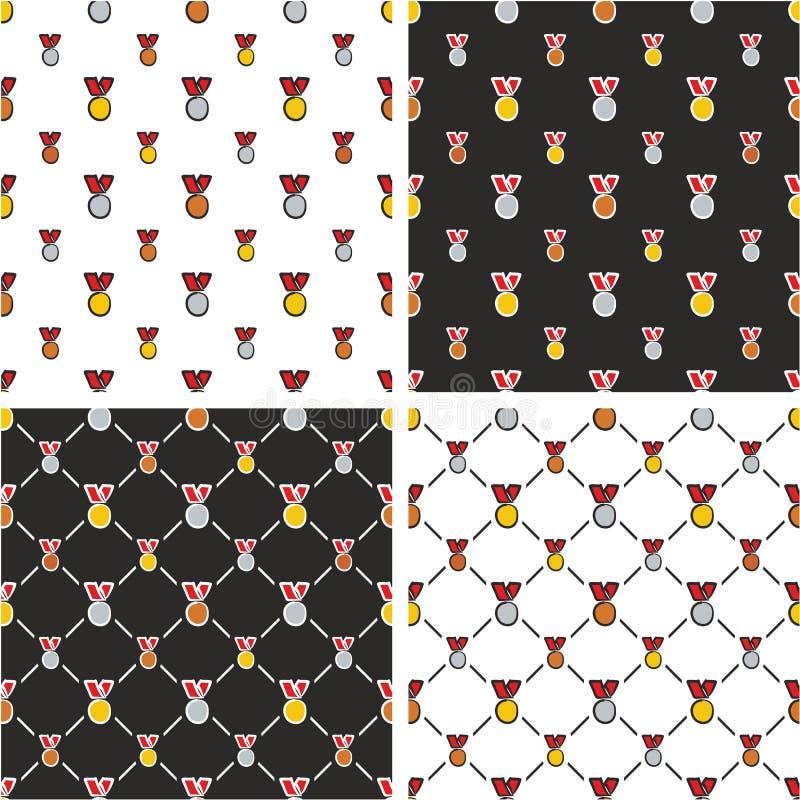 Goud, Zilver & Brons de Rode Kleurenreeks Uit de vrije hand van het Medailles Grote & Kleine Naadloze Patroon stock illustratie