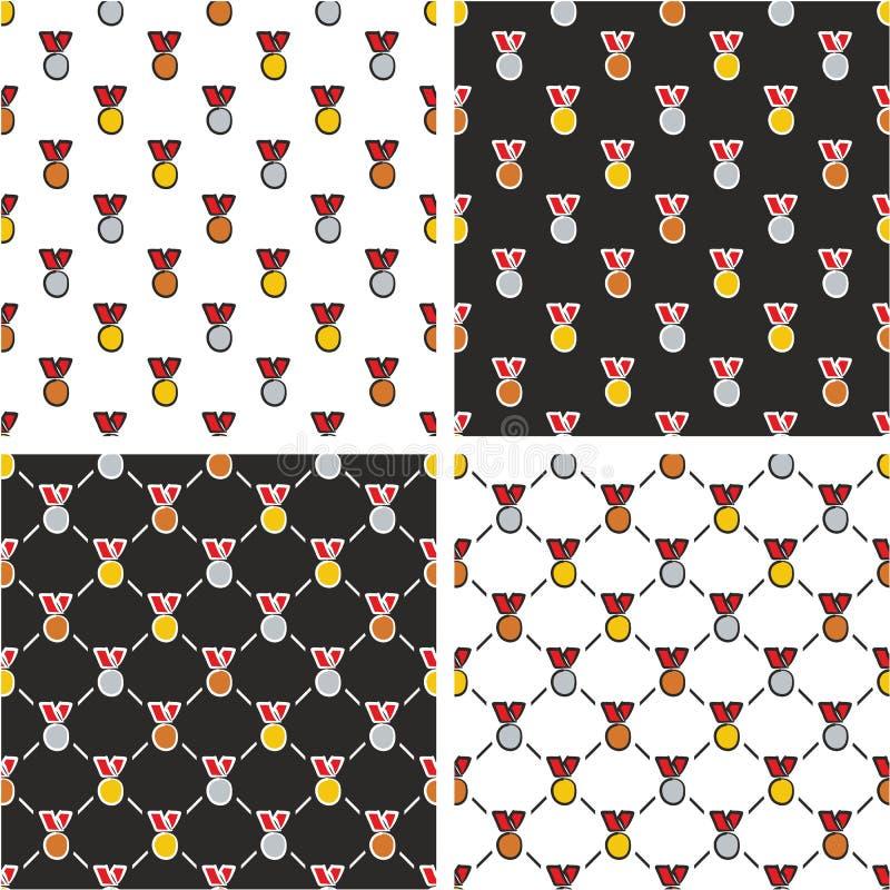 Goud, Zilver & Brons de Rode Kleurenreeks Uit de vrije hand van het Medailles Naadloze Patroon vector illustratie