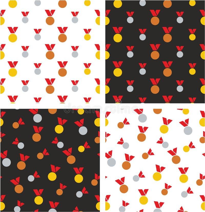 Goud, Zilver & Brons de Rode Kleurenreeks van het Medailles Grote & Kleine Gerichte & Willekeurige Naadloze Patroon vector illustratie