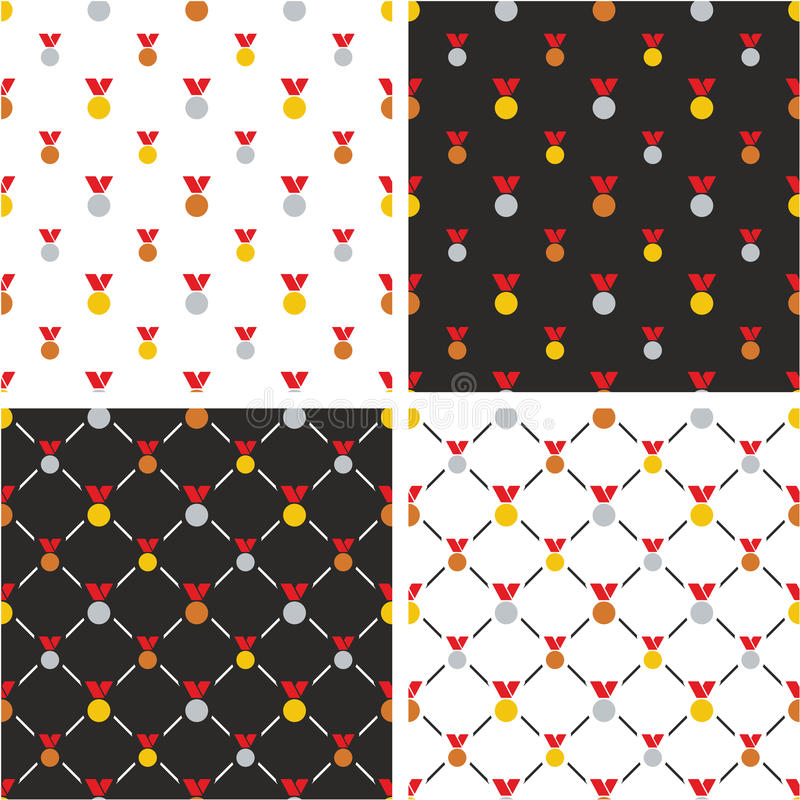 Goud, Zilver & Brons de Rode Kleurenreeks van het Medailles Grote & Kleine Naadloze Patroon vector illustratie