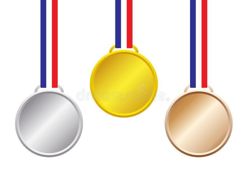 Goud, Zilver, Bronsmedailles stock illustratie