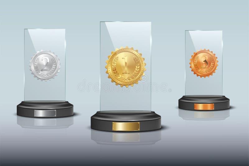 Goud, zilver en brons de toekenning van de glastrofee op blauwe achtergrond wordt geïsoleerd die Vector ontwerpelementen royalty-vrije illustratie