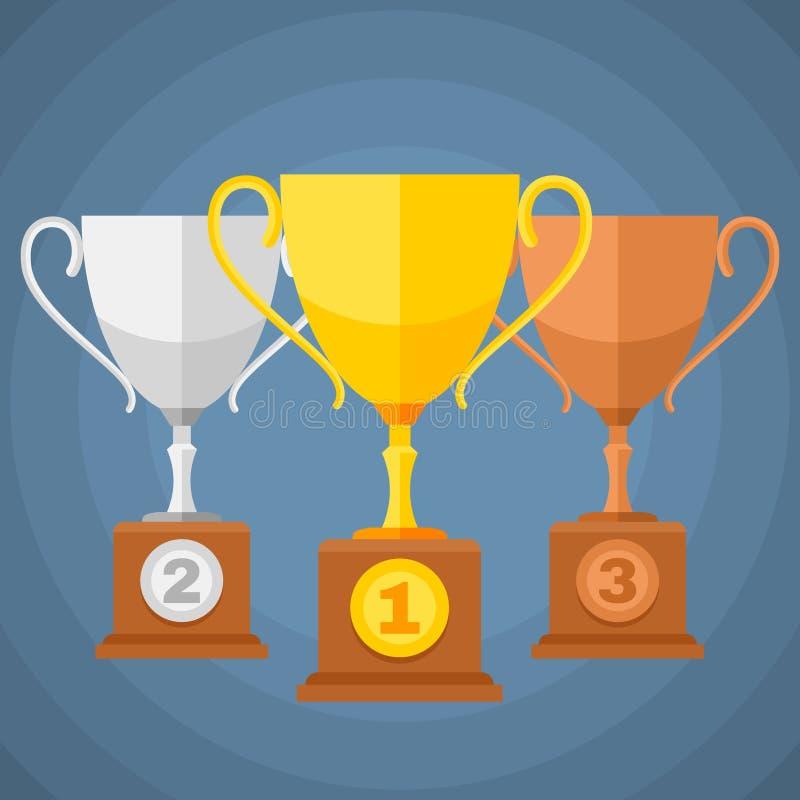 Goud, zilver en brons de trofeekoppen van winnaarssporten Vectorclassificatiepictogrammen royalty-vrije illustratie