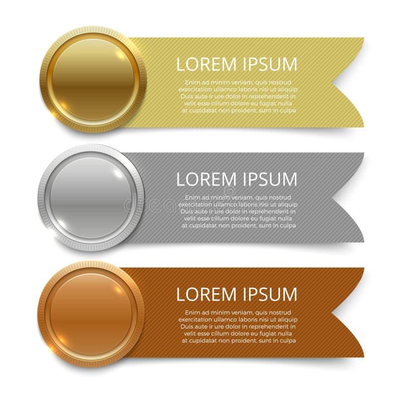 Goud, zilver en brons het ontwerp van medaillesbanners royalty-vrije illustratie