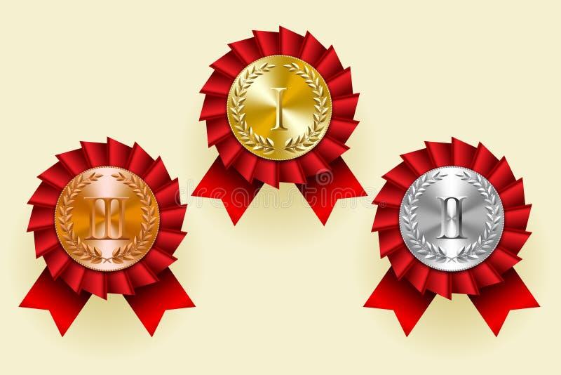 Goud, zilver en brons om medailles met lauwerkransen en rood stock illustratie