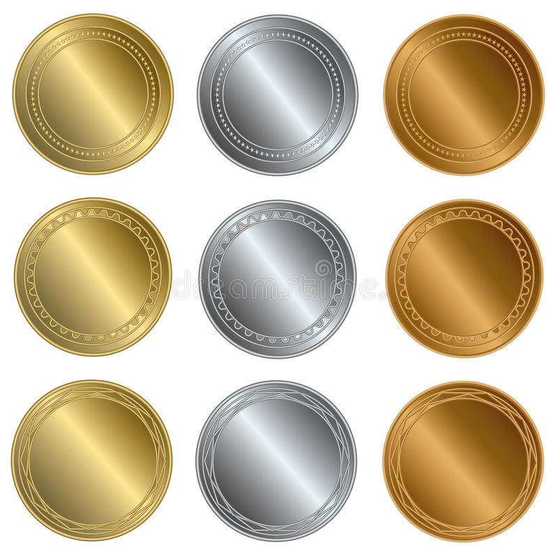 Goud, zilver en bronsverbindingen of medailles vector illustratie