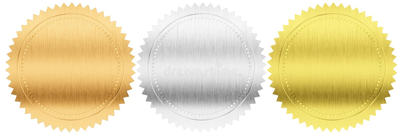 Goud, zilver en bronsverbindingen of medailles geplaatst geïsoleerd stock foto's