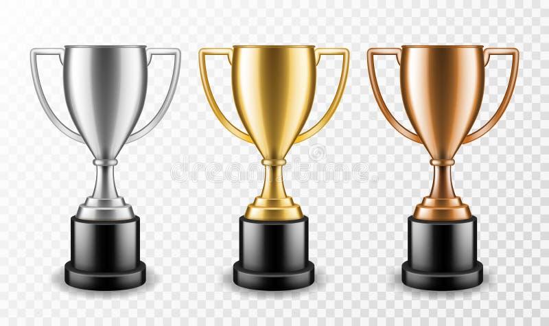 Goud zilver en bronzen winnaars Klantenkampioenschappen trofee, ceremonie voor de metallische sportprijs Vectorset royalty-vrije illustratie