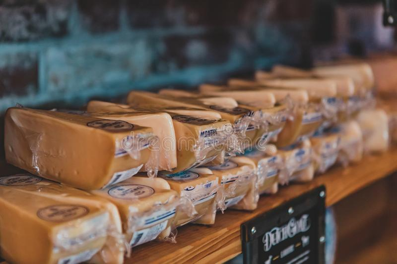 The gouda cheese in shop royalty free stock image