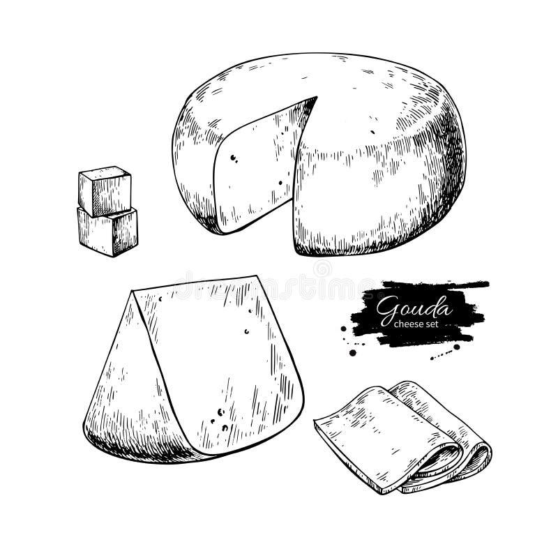 Gouda sera bloku rysunek Wektorowa ręka rysujący karmowy nakreślenie Grawerujący plasterka cięcie ilustracja wektor
