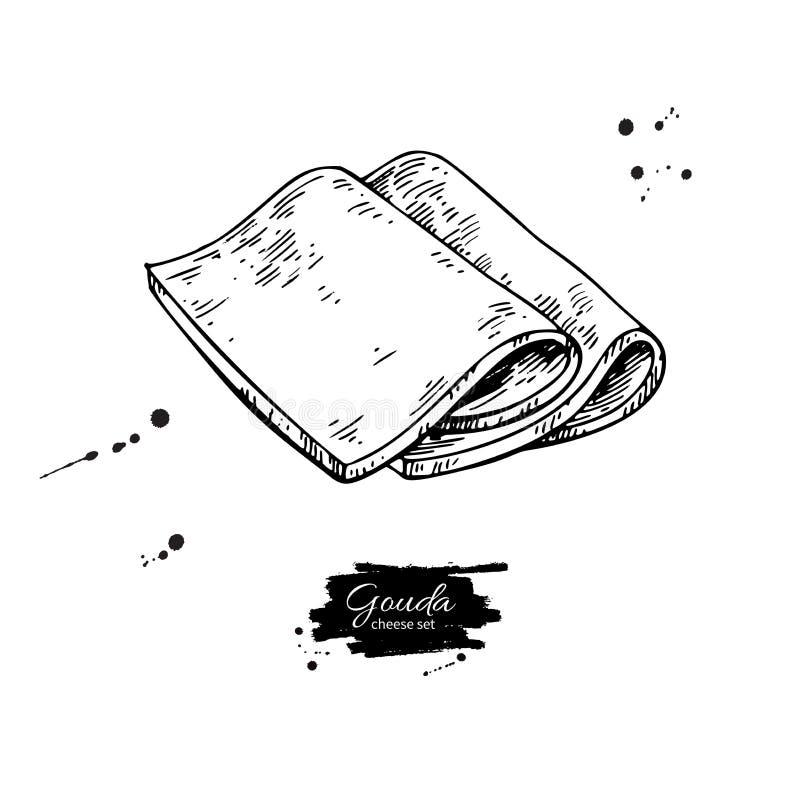 Gouda sera rysunek Wektorowa ręka rysujący karmowy nakreślenie Grawerujący plasterka cięcie royalty ilustracja