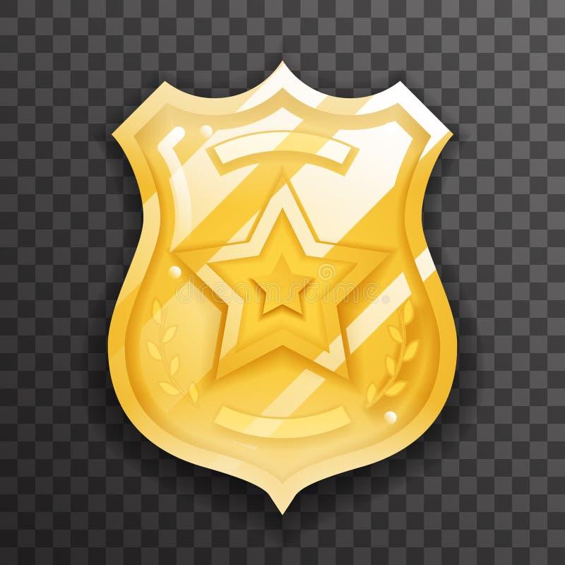 Goudbadge-pictogrambescherming van politieagent, insignia law order versieontwerp vectorillustratie vector illustratie
