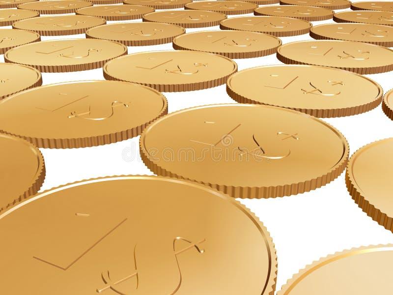 Gouden 1$ muntstuktapijt op wit stock afbeelding