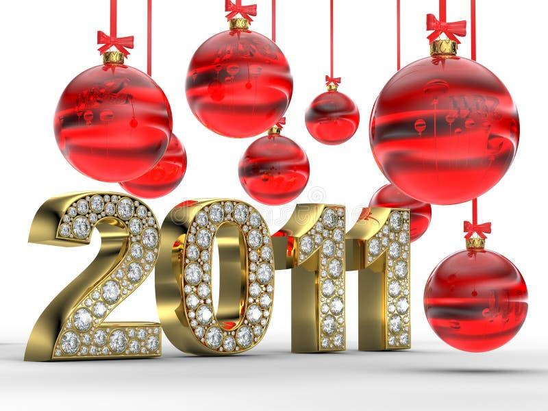 Gouden 2011 met de ballen van Kerstmis vector illustratie