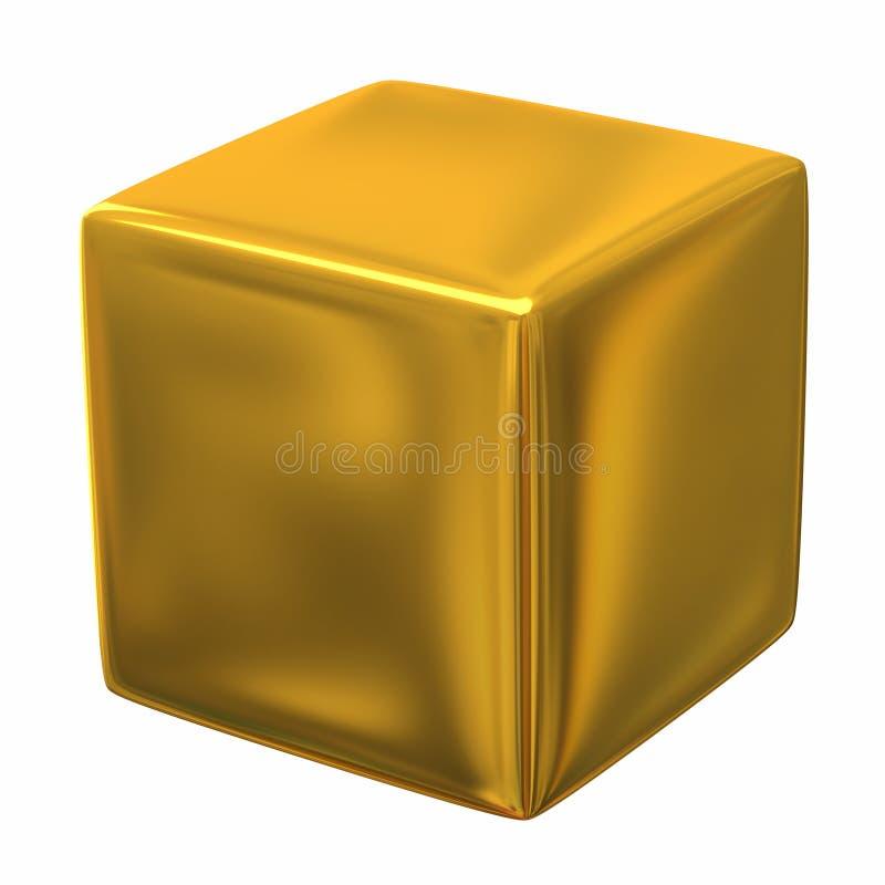 Gouden 3d kubus stock illustratie