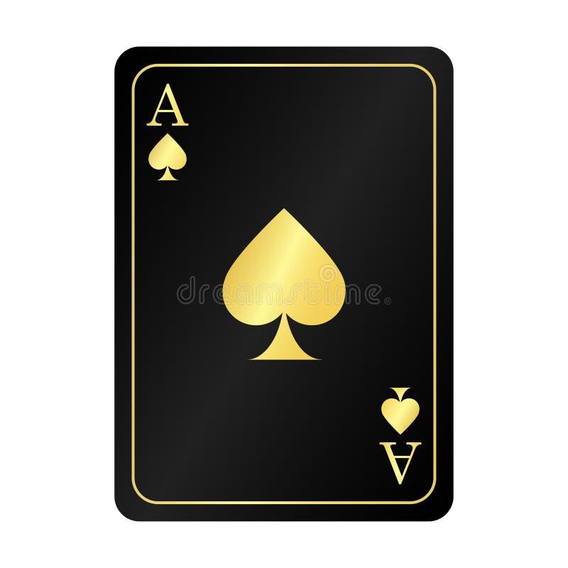 gouden aas van spades op de zwarte achtergrond vector illustratie