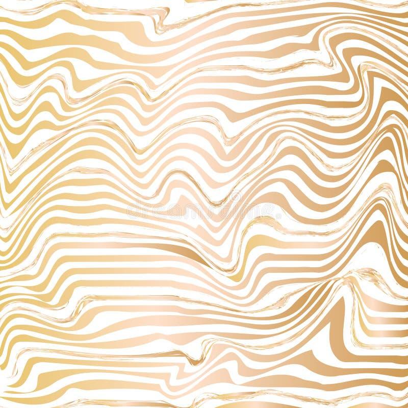 Gouden abstracte de inkttextuur van de golflijn royalty-vrije illustratie