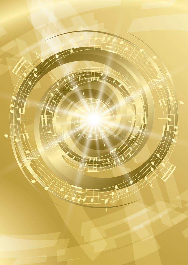 Gouden abstracte muziekachtergrond - vlieger stock illustratie