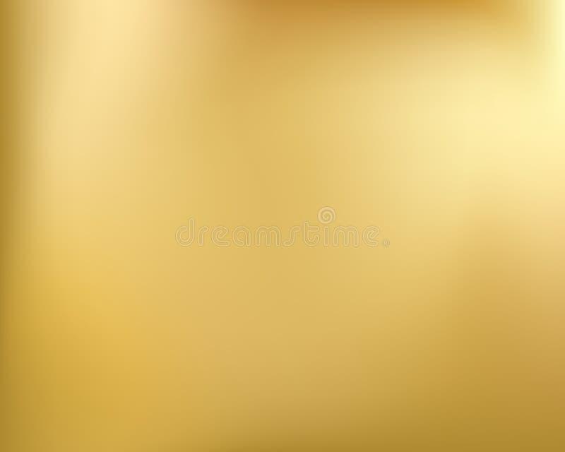 Gouden achtergrond Abstracte lichte gouden metaalgradiënt Vector vage illustratie stock illustratie