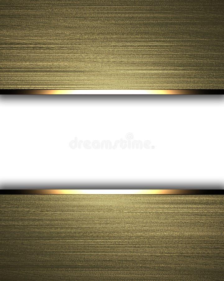 Gouden achtergrond met de witte lay-out van de textuurstreep vector illustratie