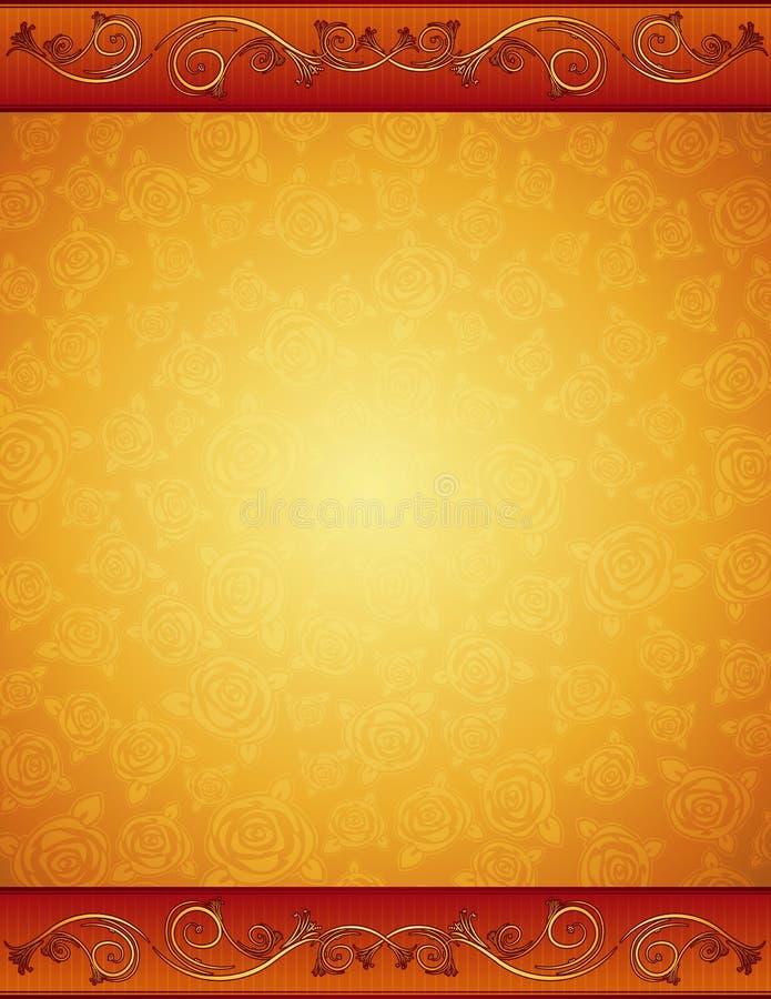 Gouden achtergrond met rozen stock illustratie
