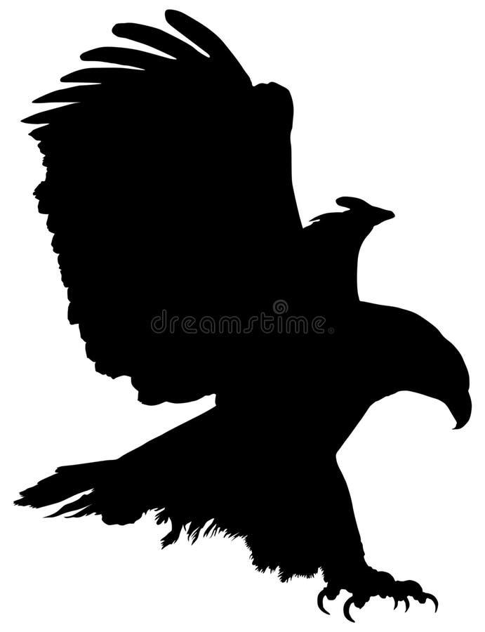 Gouden adelaar tijdens de vlucht - stel zwart silhouet in de schaduw stock illustratie