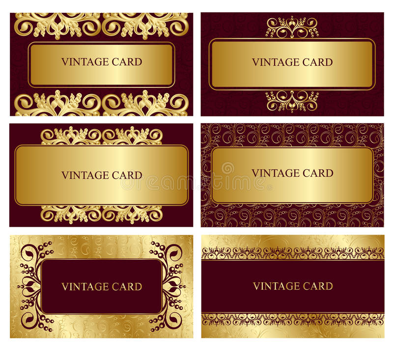 Gouden adreskaartjes stock illustratie