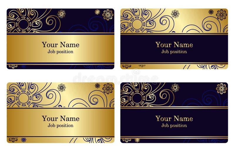 Gouden adreskaartjes royalty-vrije illustratie