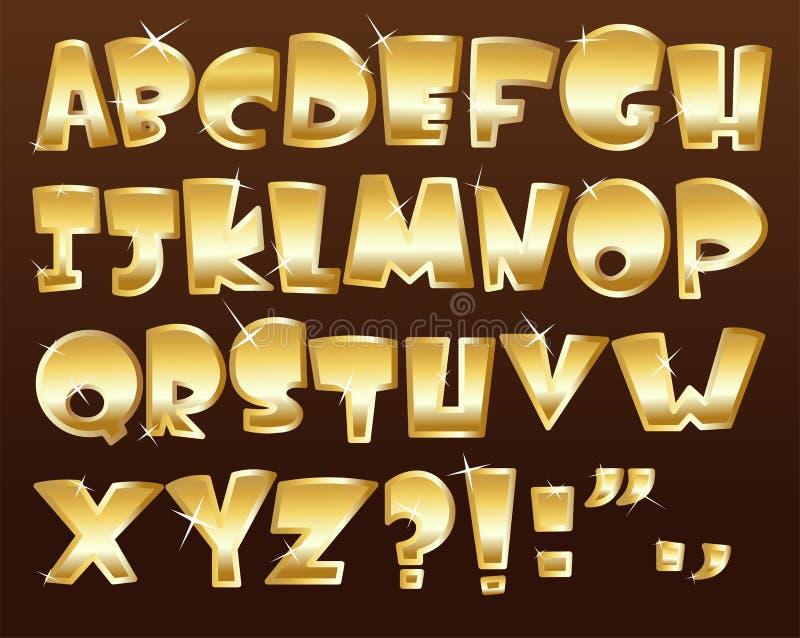 Gouden alfabet stock illustratie