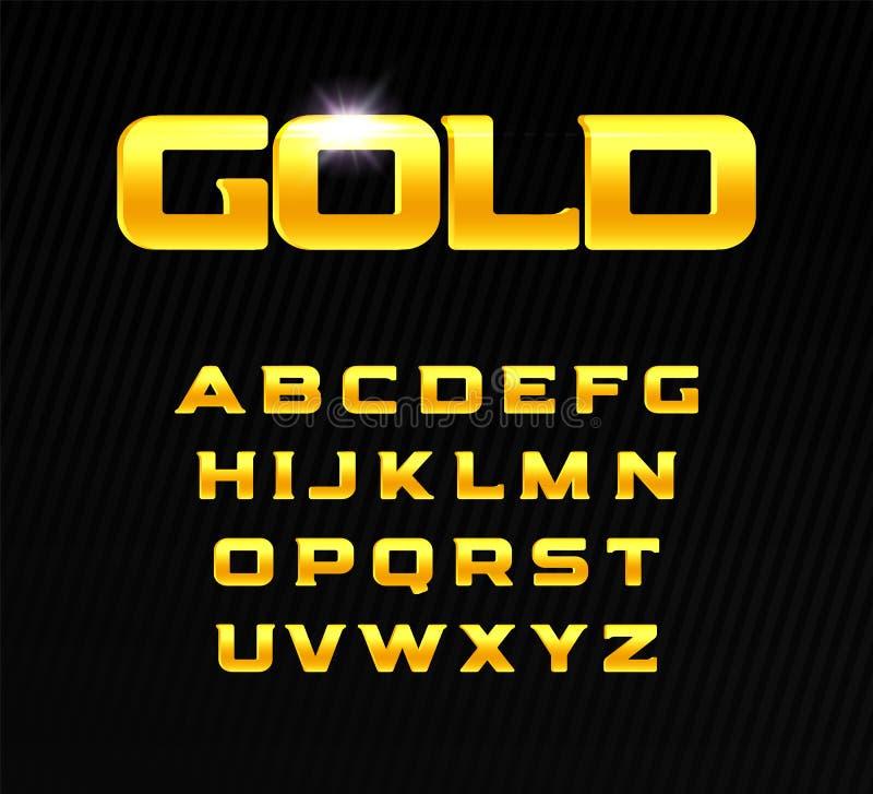 Gouden alfabet Gewaagde krantekopbrieven met serif Moderne doopvont voor het ontwerp van het premieproduct Vector gouden brieven royalty-vrije illustratie