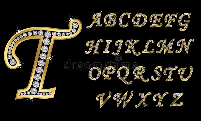 Gouden alfabet met diamanten, brieven van A aan Z vector illustratie