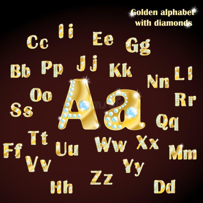 Gouden alfabet met diamanten, in hoofdletters en kleine letters vector illustratie