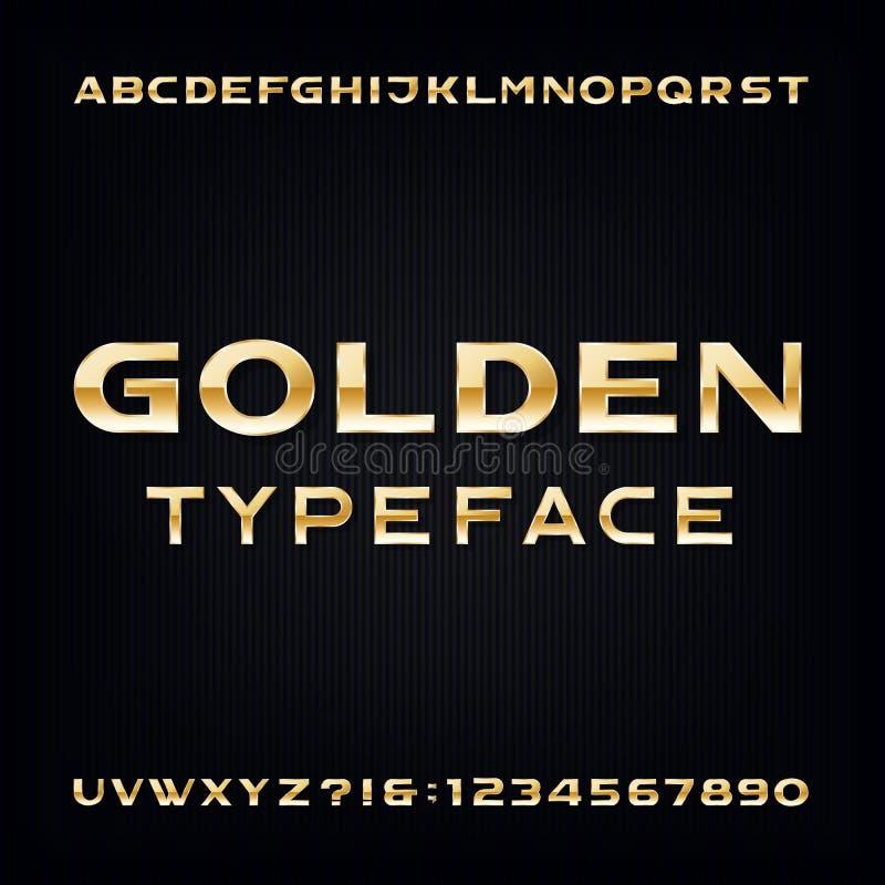 Gouden Alfabet Vectordoopvont Moderne metaal gewaagde letters en getallen stock illustratie