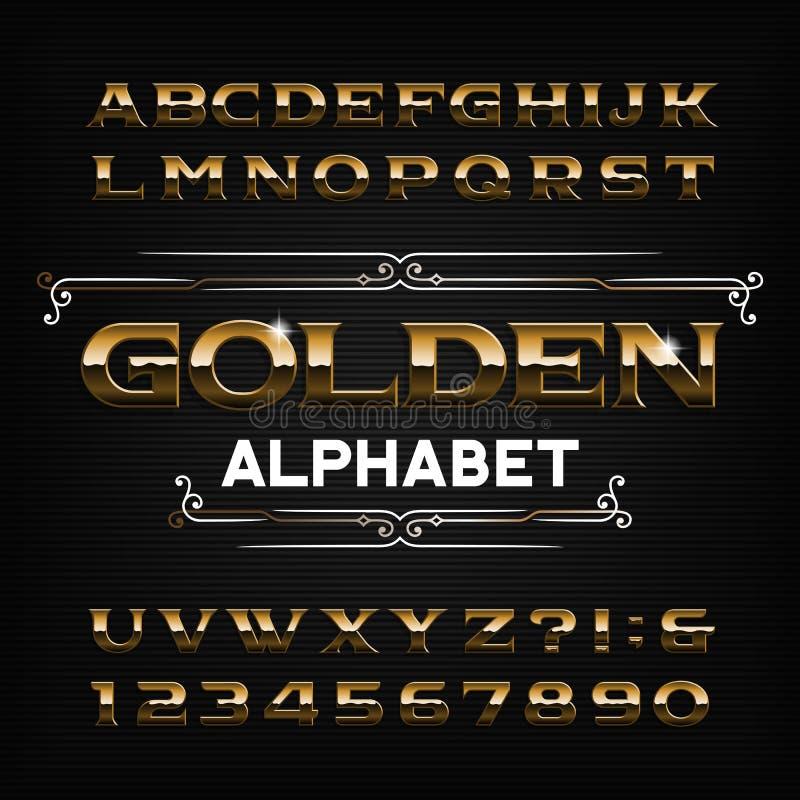 Gouden Alfabetdoopvont Gouden effect letters, getallen en symbolen royalty-vrije illustratie