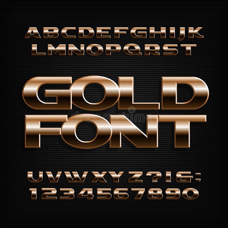 Gouden Alfabetdoopvont Metaaleffect letters, getallen en symbolen royalty-vrije illustratie