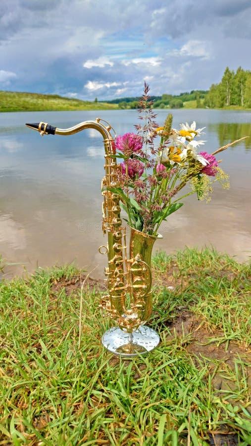 Gouden altsaxofoon op een achtergrond van aard Originele saxoph stock afbeelding